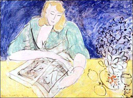 Matisse 1944 lectrice à la table jaune
